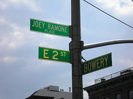 "Joey Ramone was honored with the creation of ""Joey Ramone Place"" outside the address of CBGB in New York City. JoeyRamonePlaceBowery.jpg"