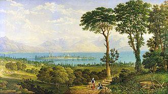 John Dobbin - 'View of Hoyerberg above the island of Lindau' (1883)