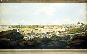 A painting of Sydney Cove in the early 19th century