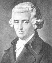 A posthumous portrait of Haydn from the 19th century.  Similar fictionalized portraits of Mozart and Beethoven date from this era.