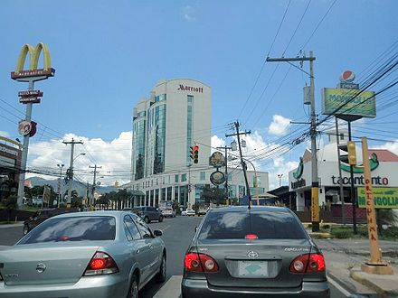 The Marriott Hotel as seen from John Paul II Blvd in Colonia Los Profesionales Juan Pablo II Blvd Tegucigalpa.jpg