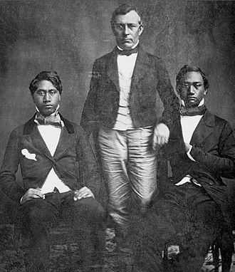 Kamehameha IV - Dr. Geritt P. Judd and his two royal charges: Prince Lot Kapuāiwa (left) and Prince Alexander Liholiho (right)