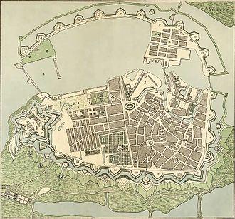 History of Copenhagen - Copenhagen, 1728. Up is approximately southeast.