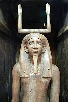 Ka statue of the pharaoh Awybre Hor, on display at the Egyptian Museum, Cairo