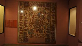 Kalamkari textile depicting scenes from Lord Krishna's life displayed at National Handicrafts and Handlooms Museum, New Delhi