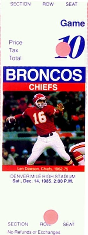 1985 Denver Broncos season - A ticket for a December 1985 game between the Broncos and the Kansas City Chiefs.