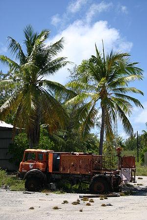 Kanton Island - Rusting fire truck on Kanton Island, 2008.