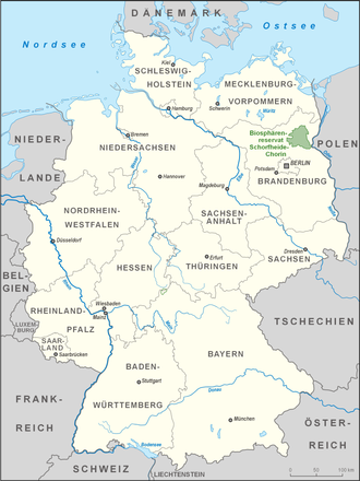 Schorfheide-Chorin Biosphere Reserve - Location of the Schorfheide-Chorin Biosphere Reserve (green) in Germany