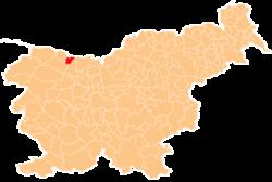 Loko de la Municipo de Žirovnica en Slovenio