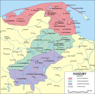 Friedrich Lorentz - Kashubian dialects area in the early 20th century - as wrote Friedrich Lorentz