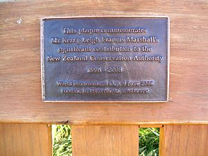 Kerry Marshall - Plaque acknowledging the contribution of Marshall to the New Zealand Conservation Authority