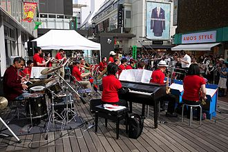 Kichijōji - Big band giving a concert just outside a department store in the middle of the shopping district Kichijoji