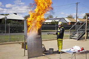 Chip pan - A demonstration of a chip pan fire when water is added by Fire and Rescue NSW