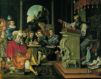 Legal education - Painting depicting a lecture in a knight academy, painted by Pieter Isaacsz or Reinhold Timm for Rosenborg Castle as part of a series of seven paintings depicting the seven independent arts. This painting illustrates rhetorics.