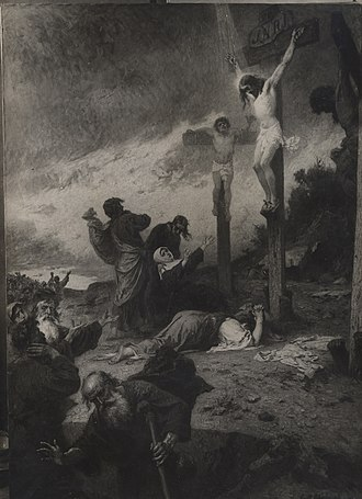"Biblical criticism - Ernst Hildebrand's 1910 painting ""Kreuzigung Christi"" depicts the crucifixion of Jesus. The crucifixion is widely regarded by historians as a real historical event."