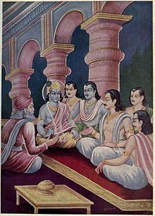 Krishna and Pandavasa meet Sanjaya.jpg
