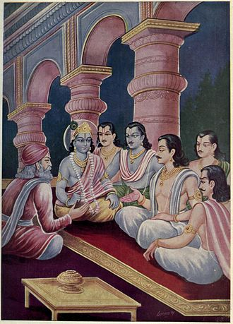 Udyoga Parva - After the Pandavas complete their exile, they ask Kuru brothers to let them return to their kingdom according to the terms of exile. The Kurus refuse. As war discussion begins on both sides, Sanjaya meets with Pandavas and Krishna (pictured above) in an effort to avoid war. This meeting is covered in Sanjaya-yana book of Udyoga Parva.