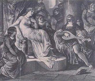 Zavis of Falkenstein - Queen Kunegunda and Zavis, 19th Century illustration