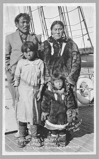 "HMCS Karluk - Kurruluk, Keruk and children, four of the survivors of the S.S. ""Karluk"" Stefansson's Canadian Arctic Expedition"