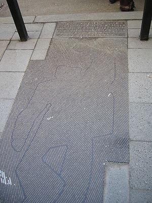 Kurt Eisner - Monument to Kurt Eisner on the sidewalk where he fell when he was assassinated in Munich