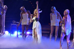 English: Kylie Minogue in her opening costume ...