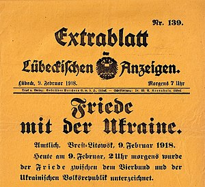 "Treaty of Brest-Litovsk - Special edition of the Lübeckischen Anzeigen, Headline: ""Peace with Ukraine""."