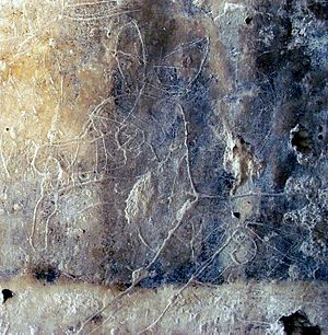 Ancient Maya graffiti - Graffito of a deer at La Blanca, Peten