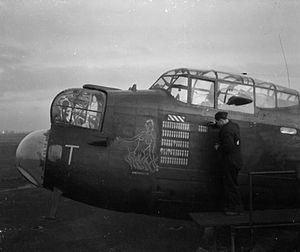"No. 166 Squadron RAF - 166 Squadron Lancaster ""Dante's Daughter"" at RAF Kirmington, February 1943"