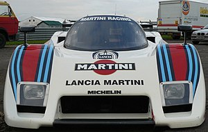 Lancia LC2 - The large radiator opening in the front of an LC2.  The additional brake cooling ducts are beneath the headlights.
