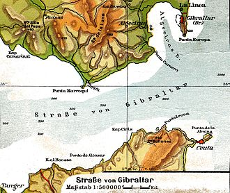 Abu al-Hasan Ali ibn Othman - Strait of Gibraltar, with Ceuta in the southeast opposite Algeciras Bay and Gibraltar.