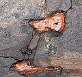 Large quartz-laumontite amygdules in quartz tholeiite basalt lava flow (Two Harbors Basalts, North Shore Volcanic Series, Mesoproterozoic, 1097-1098 Ma; Burlington Bay, Two Harbors, Minnesota, USA) 4.jpg