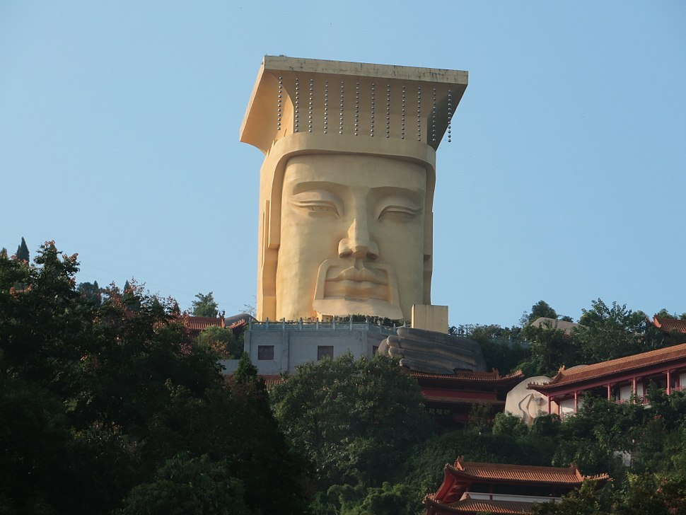 Large statue on hilltop at Fengdu Ghost City