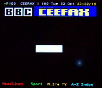 Ceefax - The final seconds of live broadcast, before the final switch off