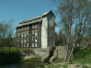 The river Sventoji. Laukzeme watermill