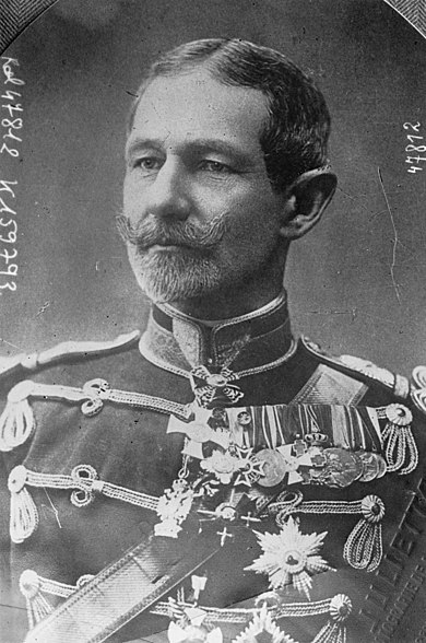 Le général Averescu, commandant du 1er corps d'armée roumain