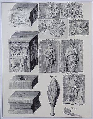 Pillar of the Boatmen - Engraving of the elements found during the diggings, Histoire de Paris, tome 1, Michel Félibien.