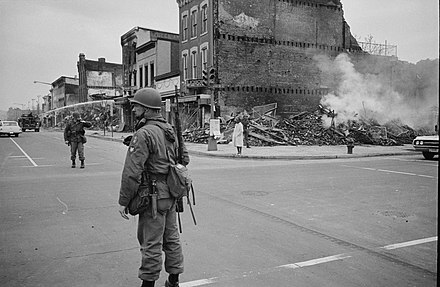 Aftermath from a race riot in Washington D.C., April 1968 Leffler - 1968 Washington, D.C. Martin Luther King, Jr. riots.jpg
