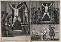 "Left, a man suffers the ""torture of water""; left, a man tied Wellcome V0041730.jpg"