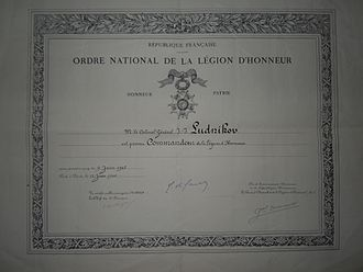 Ivan Lyudnikov - Lyudnikov's Legion of Honour citation