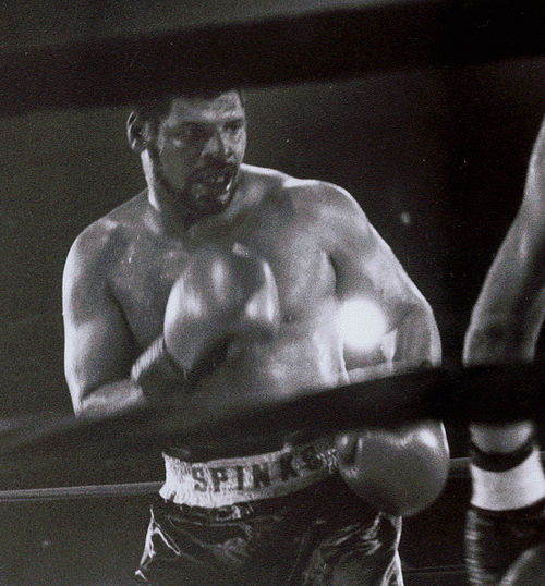 "Spinks during his final victory held at the ""Little bit of Texas"" in St.Louis Leon Spinks 3.jpg"