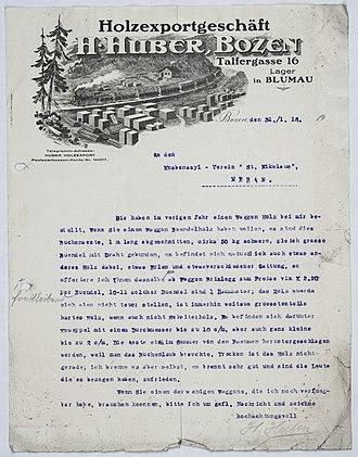 Letterhead - Letterhead of the Wood Industry Huber of Bozen-Bolzano, 1918