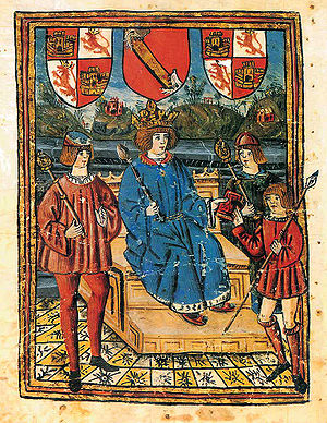 "Book of Knowledge of All Kingdoms - Title page illustration of the ""Z"" manuscript, with the Coat of arms of Castile and León and the Royal Bend of Castile of Alfonso XI."