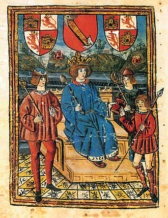 """Book of Knowledge of All Kingdoms - Title page illustration of the """"Z"""" manuscript, with the Coat of arms of Castile and León and the Royal Bend of Castile of Alfonso XI."""