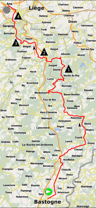Liège–Bastogne–Liège (women's race) - The inaugural event started in Bastogne and finished in Liège.