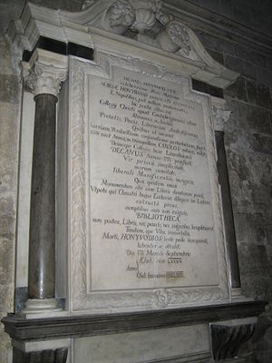 Lincoln Cathedral Library - Honywood's memorial in the cathedral nave