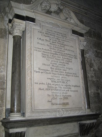 Michael Honywood - Honywood's memorial in the cathedral nave