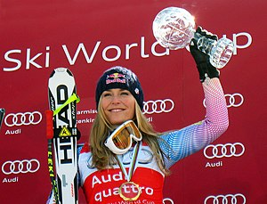 Olympic champion Lindsey Vonn holds the crysta...