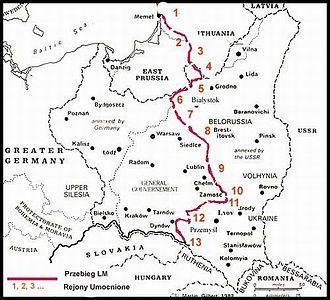 Fortified district - The Molotov Line system of fortified districts. Legend: 1. Telšiai, 2. Šiauliai, 3. Kaunas, 4. Alytus,5. Grodno, 6. Osowiec, 7. Zambrów, 8. Brest, 9. Kovel, 10. Volodymyr-Volynskyi, 11. Kamianka-Buzka, 12. Rava-Ruska, 13. Przemyśl