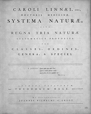 Species description - Original title page of Linnaeus's Systema Naturae, published in 1735.