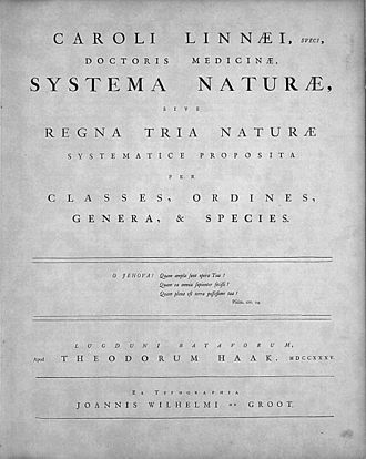 Linnaean taxonomy - The title page of Systema Naturae, Leiden (1735)